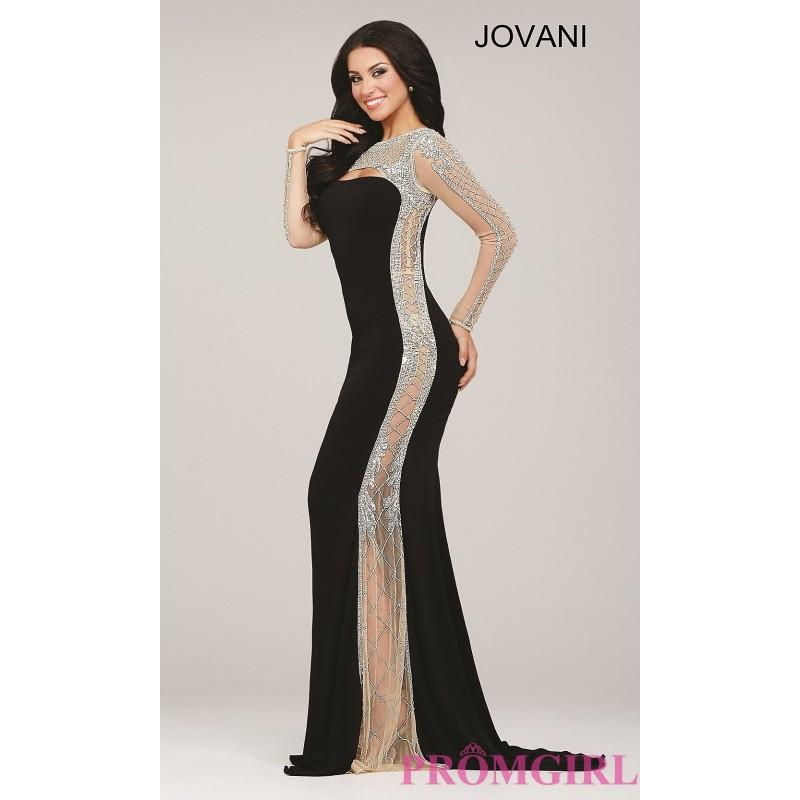 Long Black Sheer Sided Long Sleeve Prom Dress By Jovani Discount