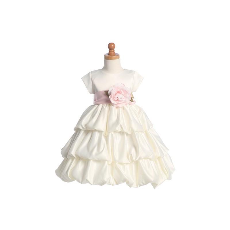Mariage - Blossom Ivory Three Layer Satin Bubble Dress w/ Detachable Sash & Flower Style: BL204 - Charming Wedding Party Dresses