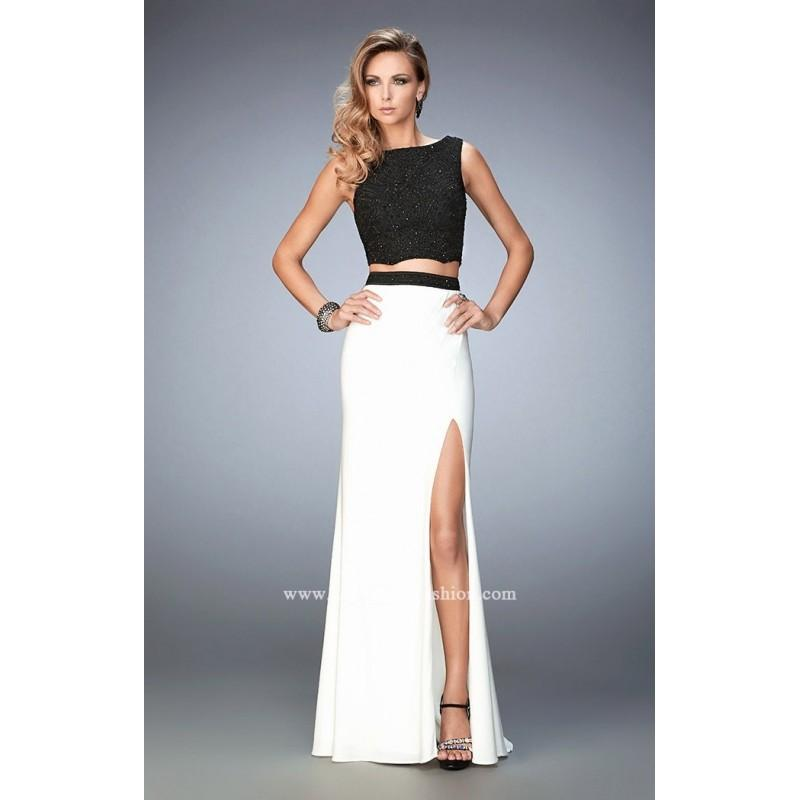Hochzeit - White/Black Gigi 22578 - 2-piece Sleeveless High Slit Jersey Knit Dress - Customize Your Prom Dress
