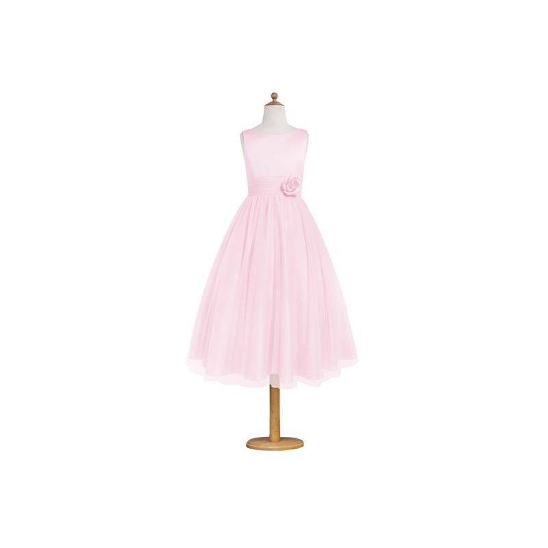 dc052cd4f3 Candy pink Azazie Rudy JBD - Back Zip Boatneck Satin And Tulle Tea Length  Dress - Charming Bridesmaids Store