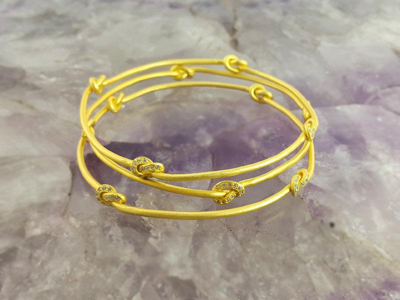 Wedding - Gold Bangle Bracelet,Four Knots Bangle,Golden Bracelet,Hammered Gold Bangle,Simple Knots Bangle,Minimalist Bangle,Simple Bracelet,Solid Gold