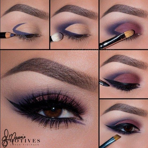 Hochzeit - Blue Purple Smokey Cut Crease