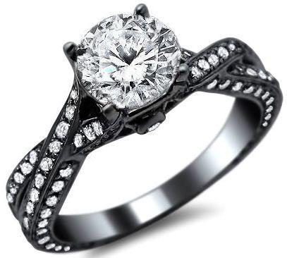 Düğün - 1.58ct Round Pave Diamond Engagement Ring 14k Black Gold