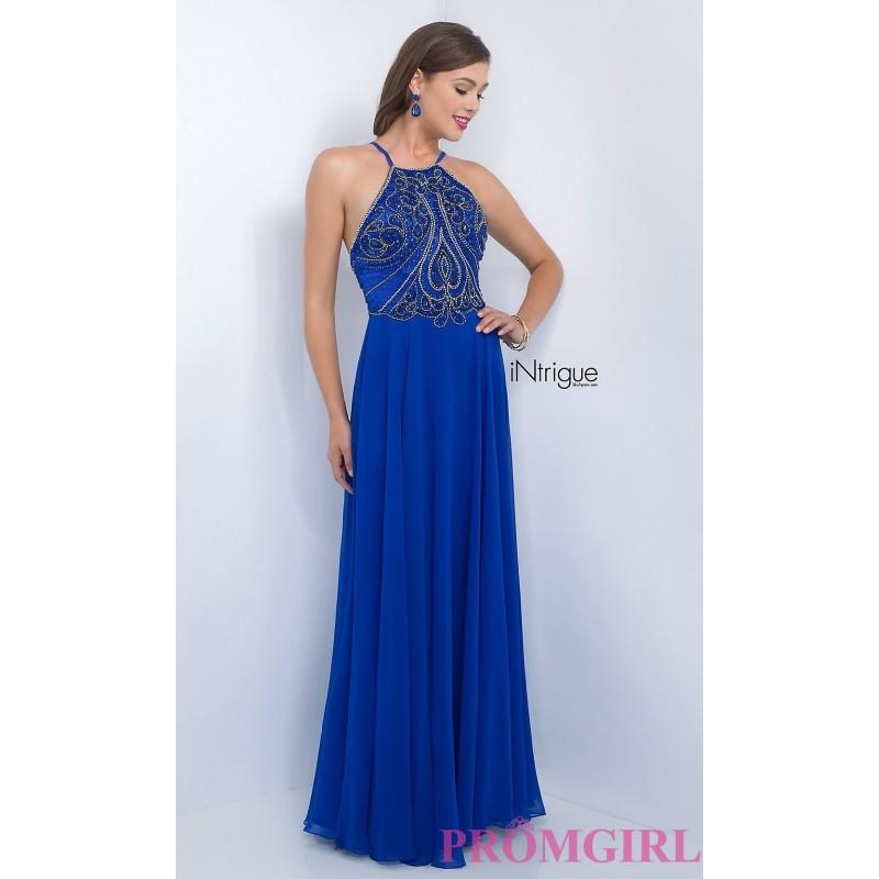 Long Blue High Neck Open Back Intrigue By Blush Prom Dress - Brand ...