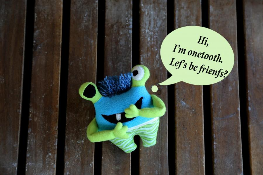 Wedding - Special summer offer: monster plush toy. Soft bright monster plushie THE FREAKISH collection. Onetooth monster for baby. Blue green monster