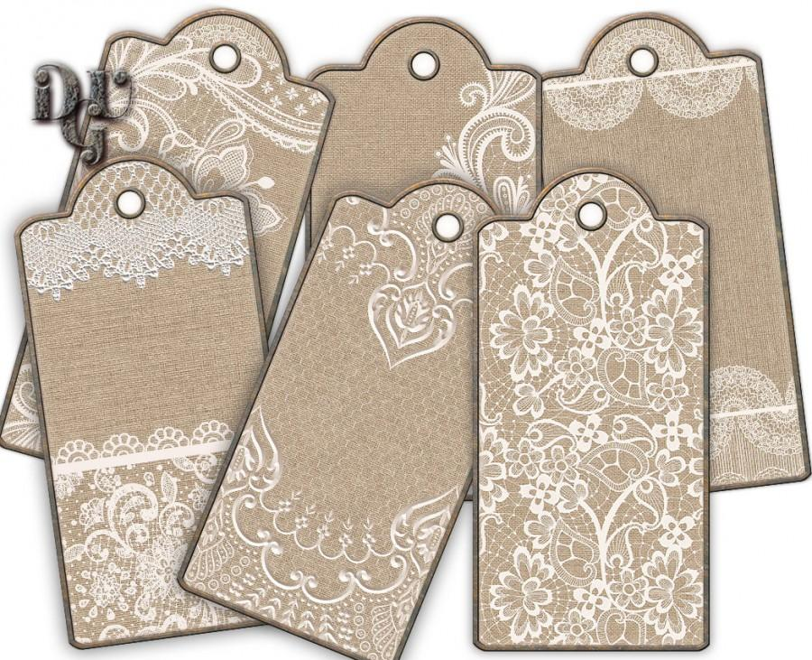 photograph regarding Printable Hang Tags called Lace Burlap Tag Reward Tag Printable Dangle Tag Wedding ceremony Rustic