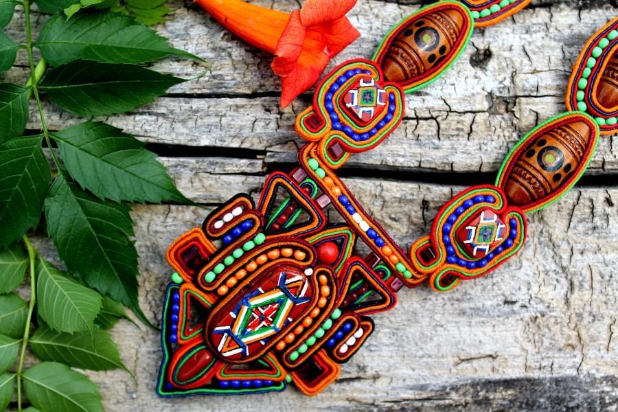 زفاف - Colorful ethnic necklace. Jewelry necklace, handmade Soutache necklace, gift for her, unique, jewelry for woman, multi-color necklace
