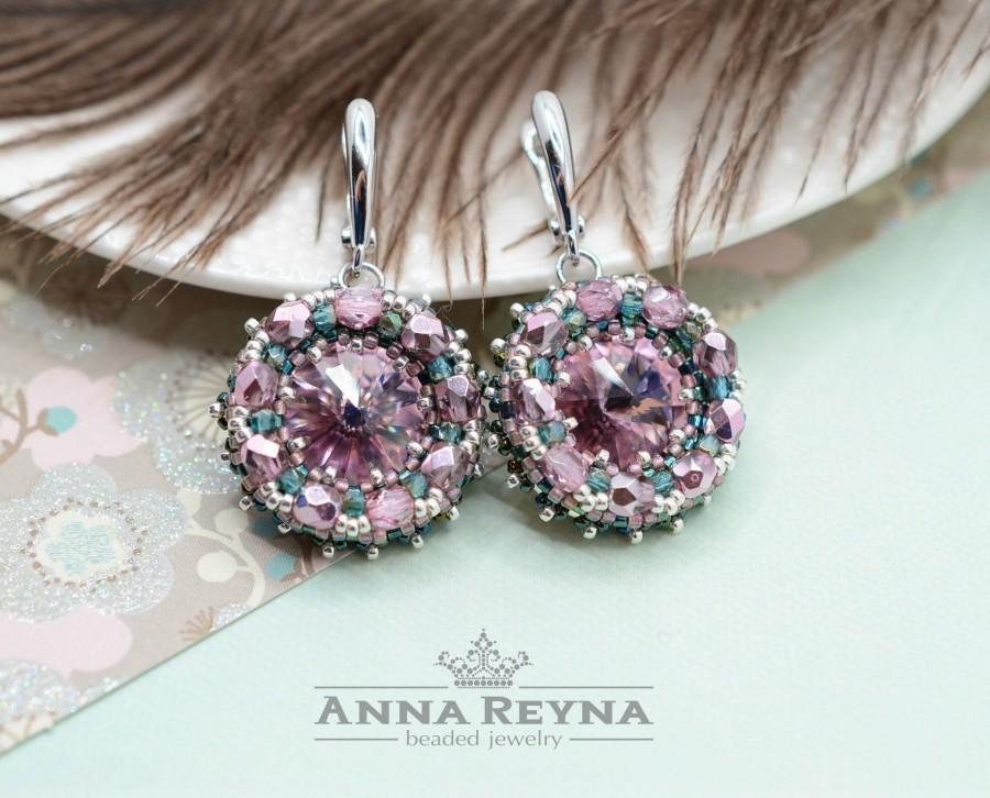 Beaded Earrings Seed Bead Swarovski Lilac Amethyst Crystal Chandelier