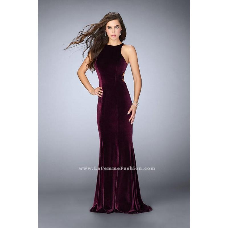 Mariage - La Femme 24316 Velvet Gown with Cutout Sides - Brand Prom Dresses