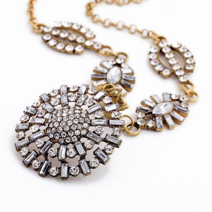 Свадьба - Crystal Stone Paved Bib Statement Necklace Bib By Trendysky