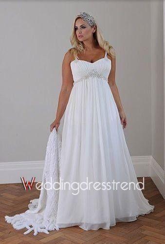 Hochzeit - [$155.00] New A-Line Court Train Chiffon Plus Size Wedding Dress