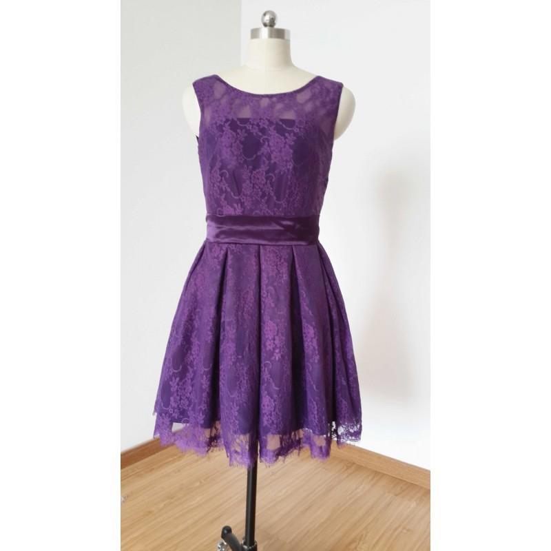 2015 A Line Dark Purple Lace Short Bridesmaid Dress Hand Made Beautiful Dresses 2744474 Weddbook,Wedding Dressing Table