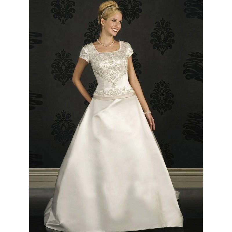 Wedding - Elegant Square Satin Modest Wedding Dresses In Canada Wedding Dress Prices - dressosity.com