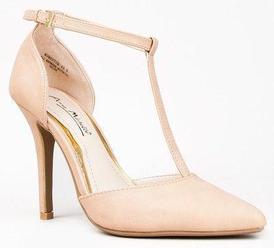 زفاف - Anne Michelle MOMENTUM-40 Pointy Toe T-Strap High Heel Stiletto Pump