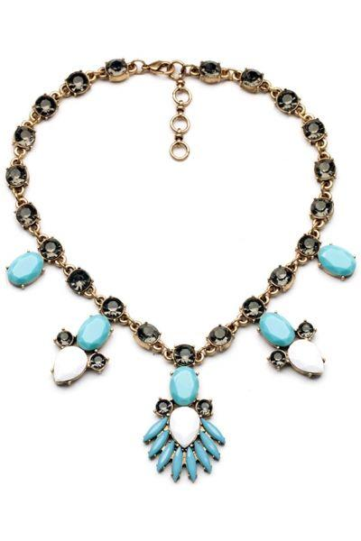 Hochzeit - Moonlight Crystal Faced Faux Stone Necklace - OASAP.com