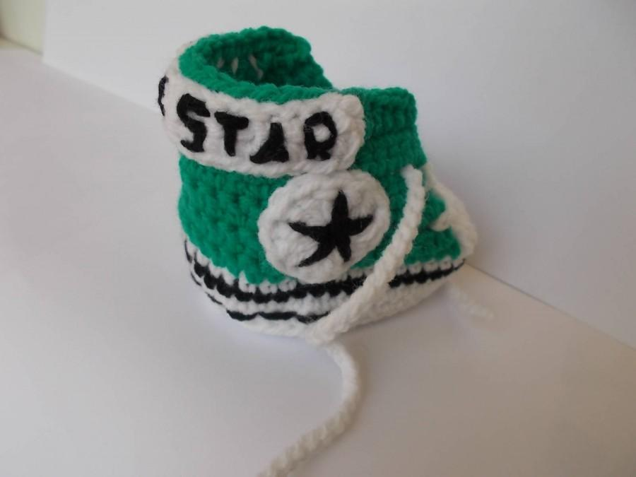 Wedding - Crochet Converse All Star, Crochet Baby Shoes, all star baby, I am star, crochet baby boots, Sneakers baby,