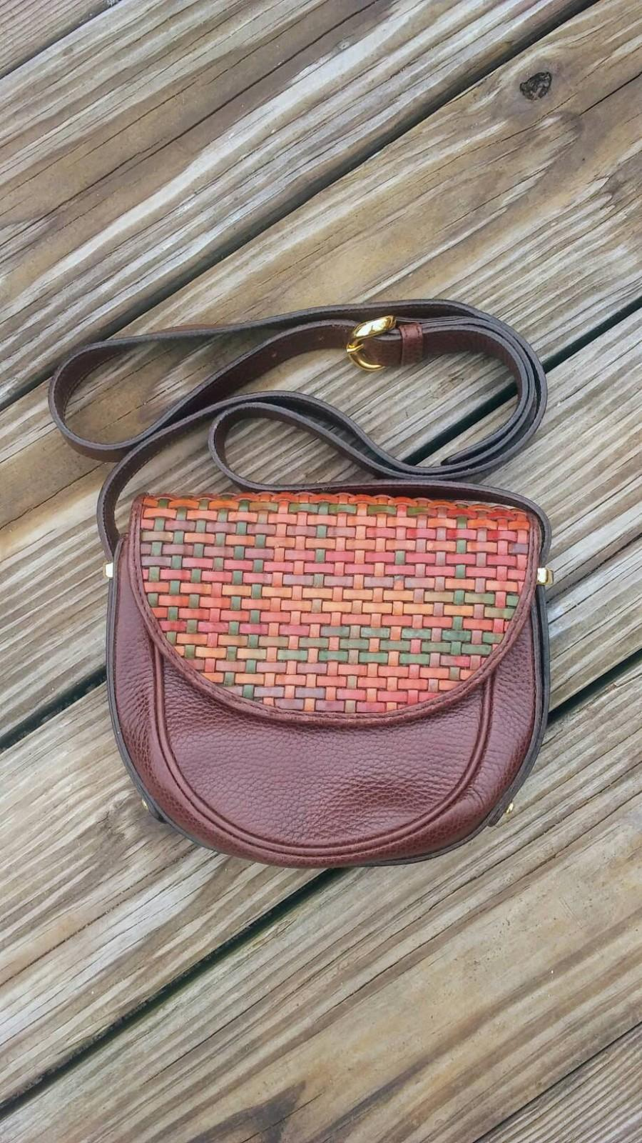 Wedding - Vintage designer COSCI genuine leather woven cross body handbag, leather COSCI purse