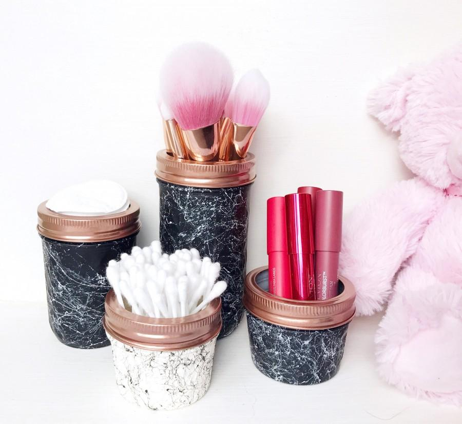 Wedding - Marble effect mason jar, marble bathroom decor, Bathroom accessories, Storage jars, marble makeup brush holder, housewarming gift, teen girl