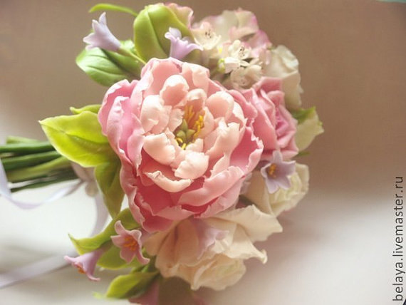 Wedding - Bouquet peony  cold porcelain, bridal bouquet,  wedding bouquet, peony clay, a bouquet of flowers, clay flowers