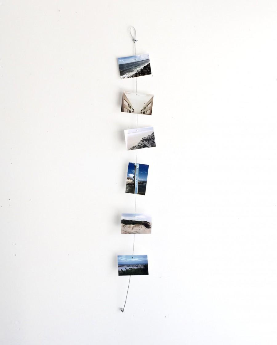 Wedding - Vertical Cable Photo Holder - Magnets, Photos, Industrial, Metal, Wire, Decor, Office, Home, Photo Display, Picture Holder, String, Gift