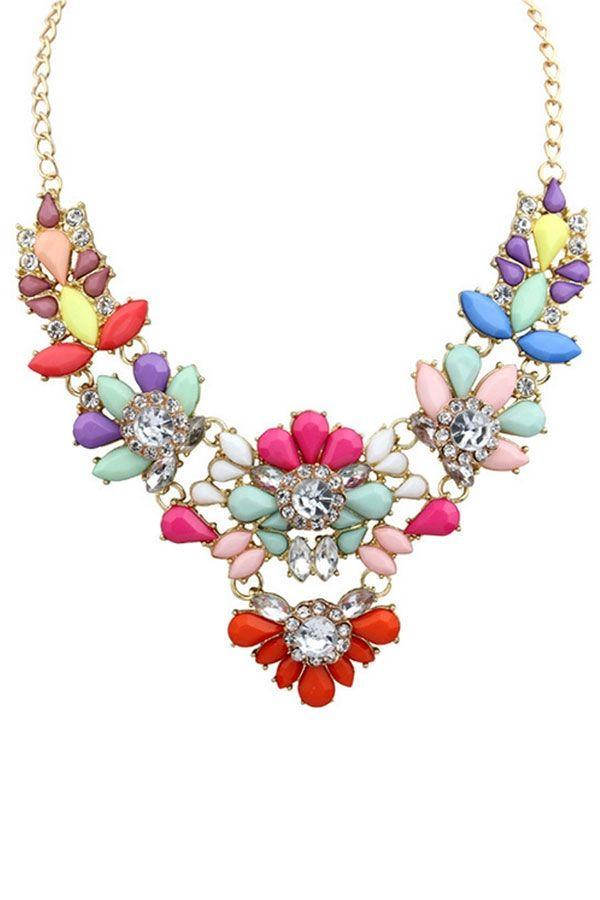 Свадьба - Stunning Multicolor Faux Stone Necklace - OASAP.com