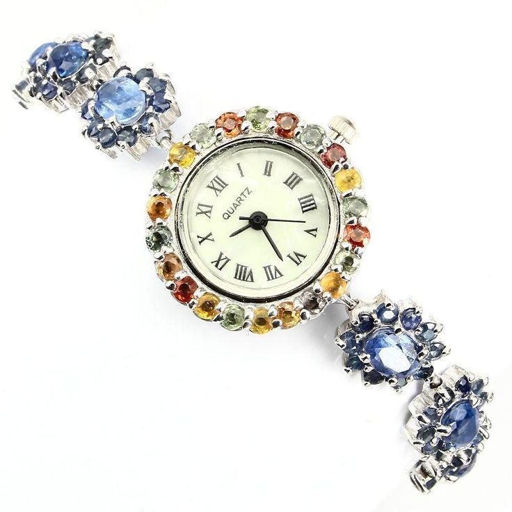 Boda - 14K White Gold Blue Kyanite Sapphire Mother Of Pearl Watch