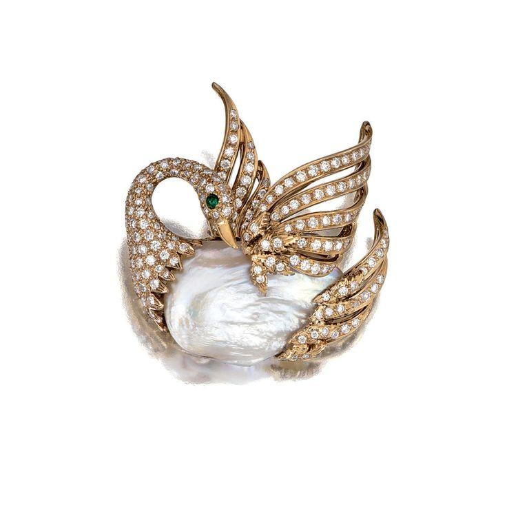 Wedding - Cultured Pearl, Emerald And Diamond Brooch, Seaman Schepps