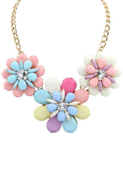 Düğün - Darling Floral Faux Stone Necklace - OASAP.com