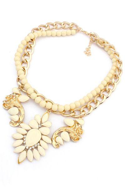 Boda - Leaf Beaded Bib Necklace - OASAP.com