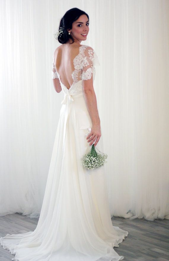 Vintage Inspired Lace Silk Chiffon Wedding Dress #2745217 - Weddbook