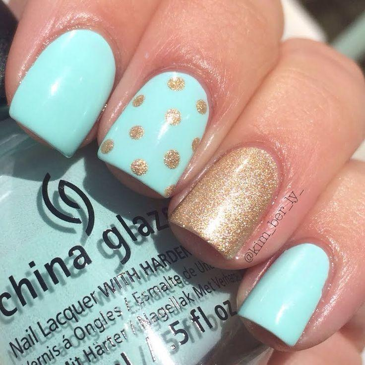 زفاف - Easy On The Eyes, Pastel Blue Nail Polish Is Complemented By A Gorgeous Sparkling Polka Dotted Gold For Accent. Recreate This Manicure With The Help Of These Products Used.