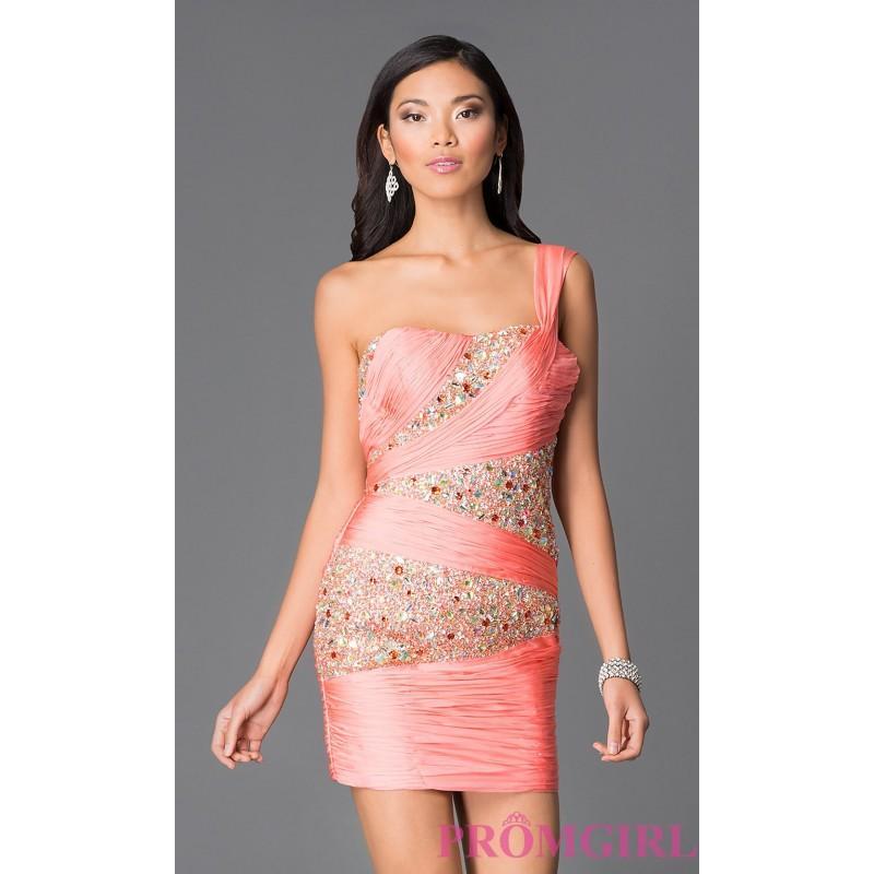 Wedding - Ruched Short One Shoulder Dave and Johnny Dress 8123 - Discount Evening Dresses
