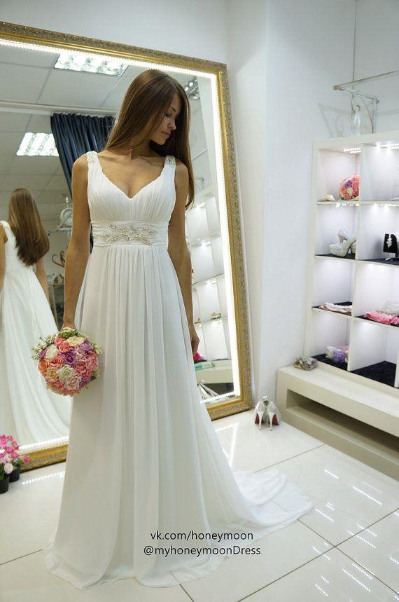 Wedding - Nessa Wedding Dress, Empire Wedding Dress, Simply Wedding Dress, Chiffon Wedding Dress, V Neck Line Wedding Dress, Straps Wedding Dress
