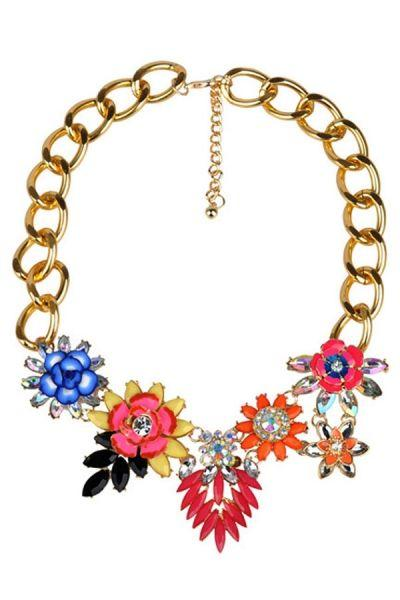 Mariage - Nice Beaded Floral Bib Necklace - OASAP.com
