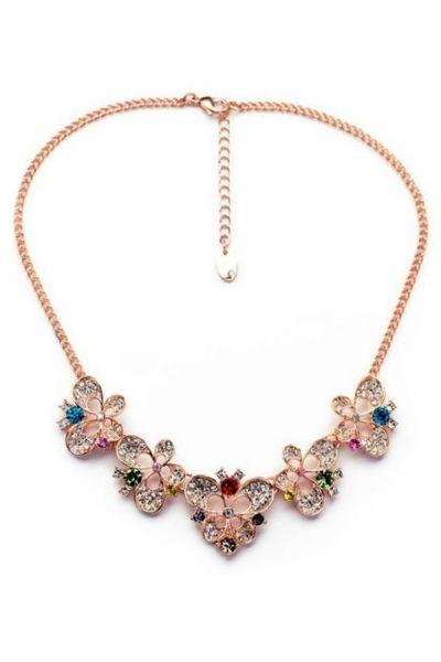 Hochzeit - Fancy Rhinestone Deco Floral Necklace - OASAP.com