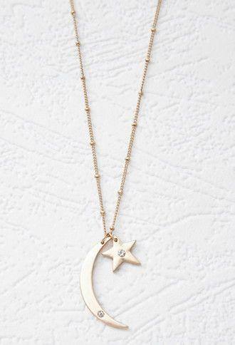 Wedding - Moon And Star Pendant Necklace