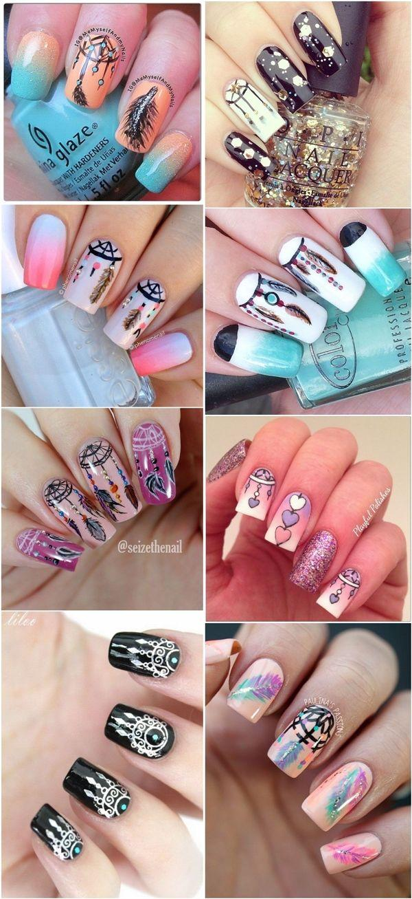 Düğün - Boho Dreamcatcher Nail Art Ideas - Meet The Best You