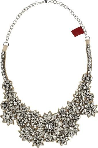 Düğün - Women's White Jewel Flowers Swarovski Crystal Necklace
