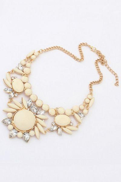 Wedding - Nice Faux Stone Bib Necklace - OASAP.com