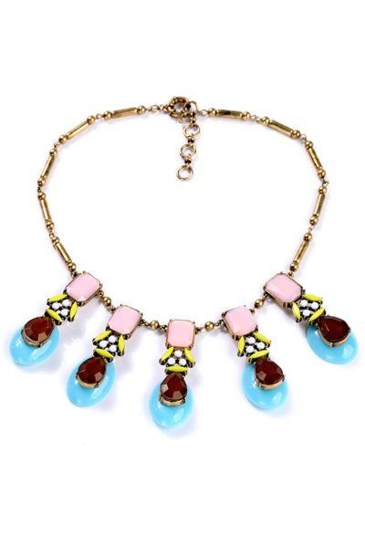 Hochzeit - Patel Hue Colorblocked Faux Stone Necklace - OASAP.com