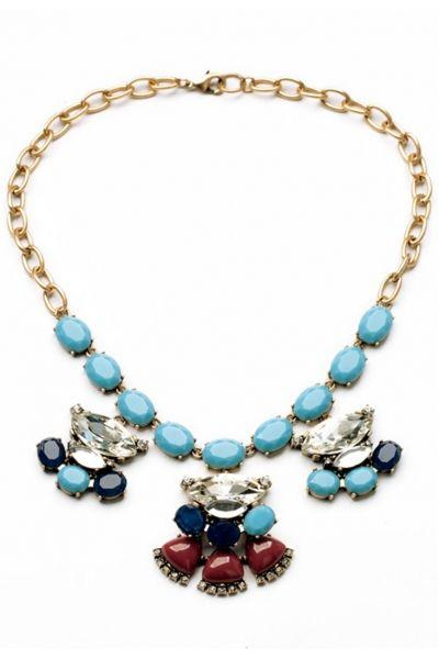 Wedding - Light Blue Vintage Scalloped Pendant Bib Necklace - OASAP.com