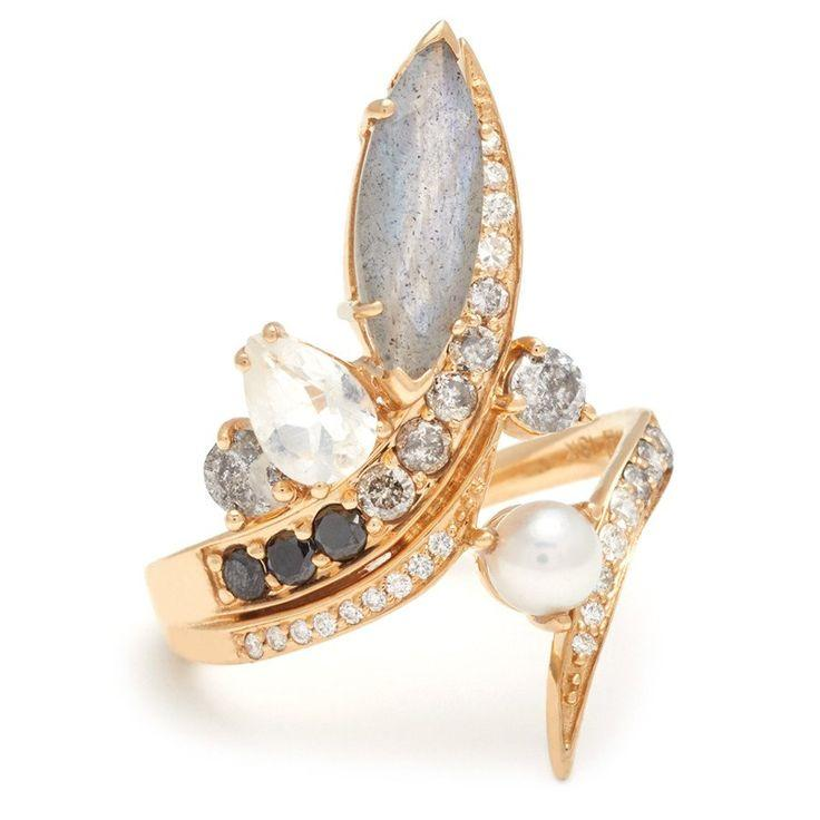Wedding - Butterfly Wrap Ring - 18k Yellow Gold & Pearl, Labradorite, White And Grey Diamonds