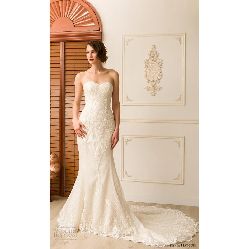Wedding - Rania Hatoum Spring/Summer 2018 Marina Ivory Trumpet Sweet Chapel Train Sleeveless Sweetheart Embroidery Lace Dress For Bride - Junoesque Wedding Dresses
