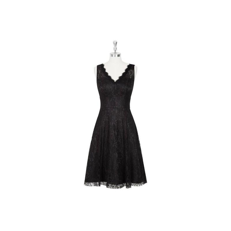 Mariage - Black Azazie Alma - Illusion V Neck Knee Length Lace Dress - Charming Bridesmaids Store