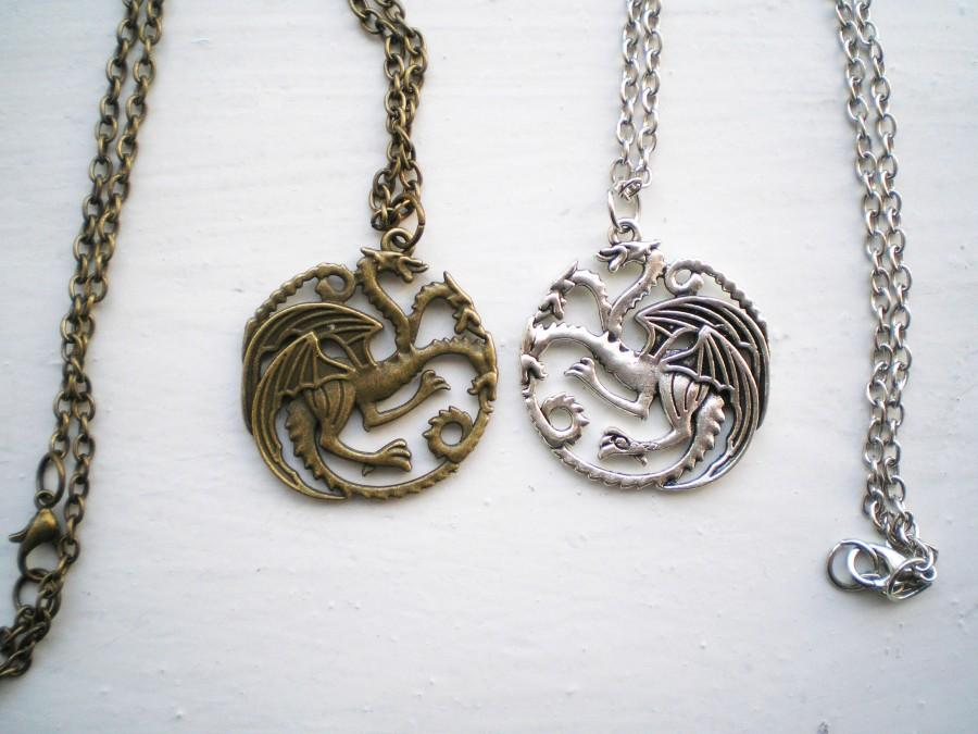 Düğün - Game of Thrones Jewelry Daenerys Targaryen Dragon necklace Antique Silver pendant Antique Bronze Amulet Game of Thrones Necklace GoT gift