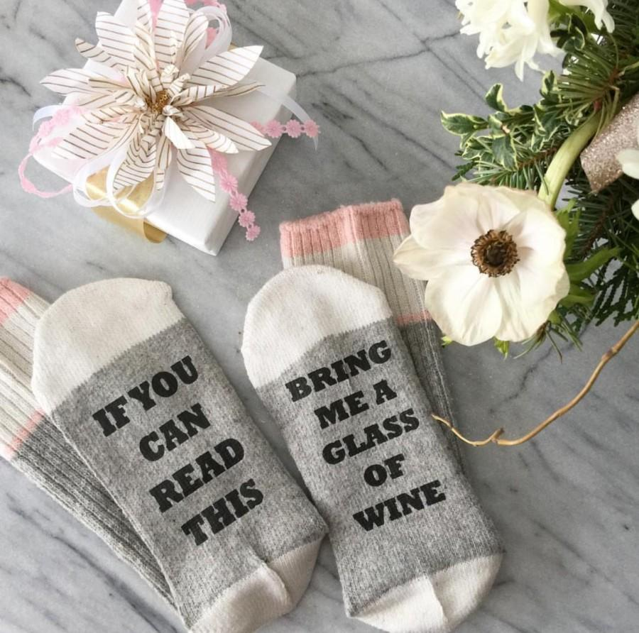 Wedding - SALE - Wine Socks - If you can read this sock - Birthday for her - bring me wine sock - Birthday Gift - Gift for Mom - beer sock - Mom