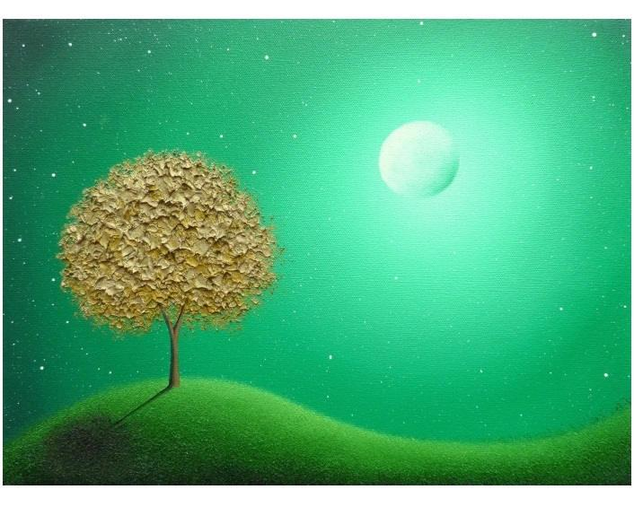 Boda - Green Landscape Print, Whimsical Nightscape, Archival Photo Print of Gold Tree Art, Modern Art Wall Art, Surreal Art, Golden Blossom Tree
