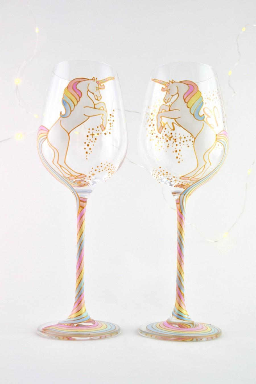 Wedding - Long Tail Unicorn Wine Glass