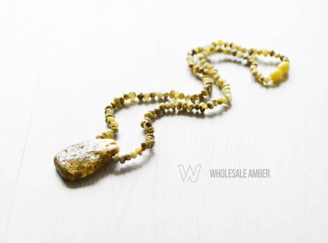 Wedding - Amber necklace with green beads. Natural ambeer necklace for adults. Baltic amber. MS01