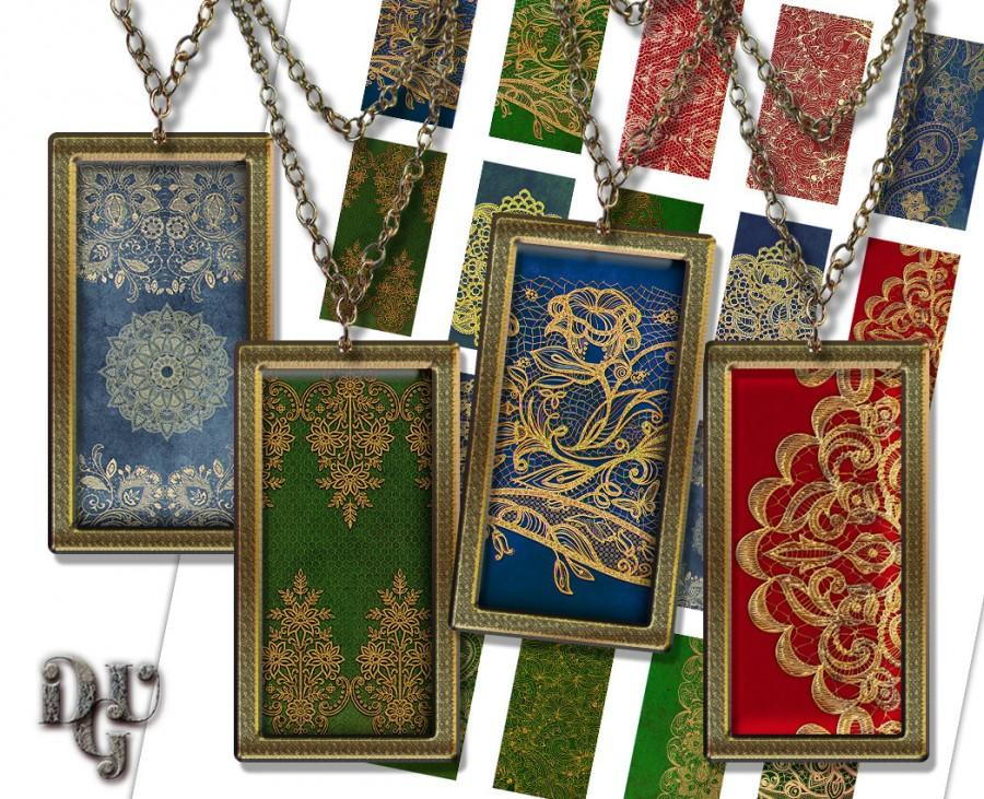 Wedding - Lace Dominoes Digital collage sheet, Golden Lace on Velvet red, blue, green  1x2 Inch rectangle glass pendant resin 1x2 domino image R025